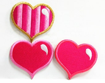 Pink Hot Pink Gold Cutie Heart (6.5 x 6 cm) Embroidered Applique Iron on Patch (NTN)