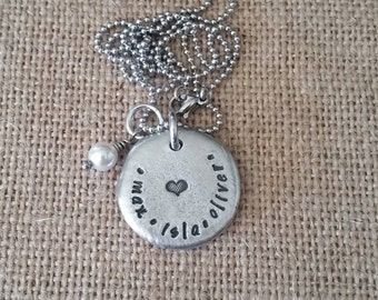 Hand Stamped Jewelry-Personalized necklace-Hand Stamped Pewter Necklace-Family Mother's Necklace