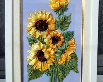SilkRibbonembroidery Painting Sunflowers