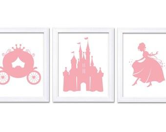 Rose Pink White Princess Nursery Art Set of 3 Prints Child Art Kids Room Wall Art Baby Girl Decor Baby Castle Carriage