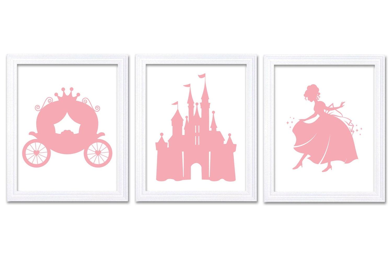 Rose Pink White Princess Nursery Art Set of 3 Prints Child Art Kids Room Wall Art Baby Girl Decor Ba