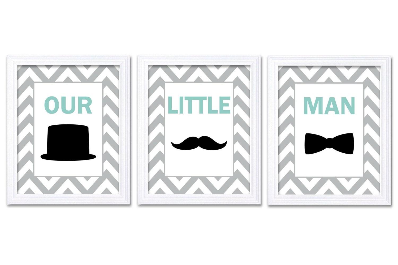 Our Little Man Nursery Art Set of 3 Black Grey Teal Green Nursery Print Tophat Bowtie Tie Mustache C