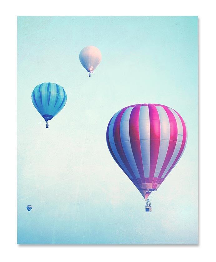 Blue Teal Hot Air Balloons Nursery Art Nursery Print Child Baby Art Prints Old Vintage Antique Kids
