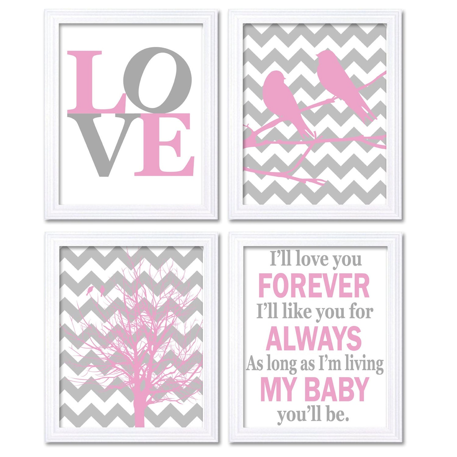 Nursery Art Pink Grey Wall Decor Ill Love You Forever Set of 4 Prints Baby LOVE Child Kids Girl Wall