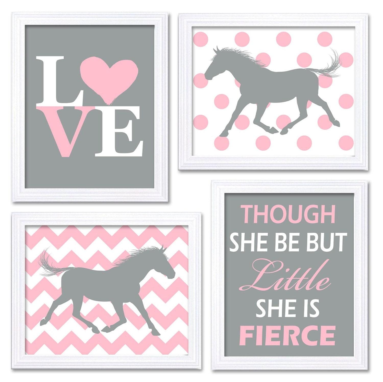 Horse Nursery Art Pink Grey Prints Set of 4 LOVE Though She be but Little She is Fierce Chevron Polk