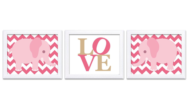 Hot Pink Elephant Chevron Beige LOVE Nursery Art Nursery Print Set of 3 Elephant Child Art Prints Ki