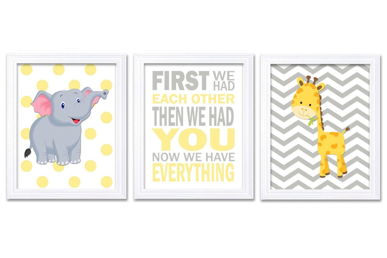 Giraffe Elephant Nursery Wall Decor Set of 3 Prints Yellow Grey Nursery Art Chevron Polka Dots First