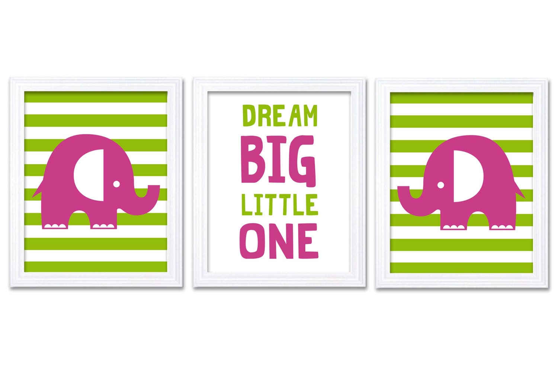 Hot Pink Lime Green Elephant Nursery Art Dream Big Little One Set of 3 Prints Stripes Child Kid Room
