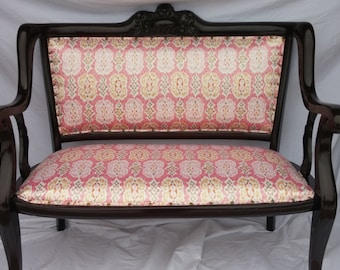 FREE FEDEX SHIPPING - Settee Loveseat - Upholstered Loveseat Bench with Coral Ikat Satin Fabric