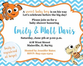 Finding Nemo, Fish, Under The Sea, Baby Shower Invitation, Baby Sprinkle,