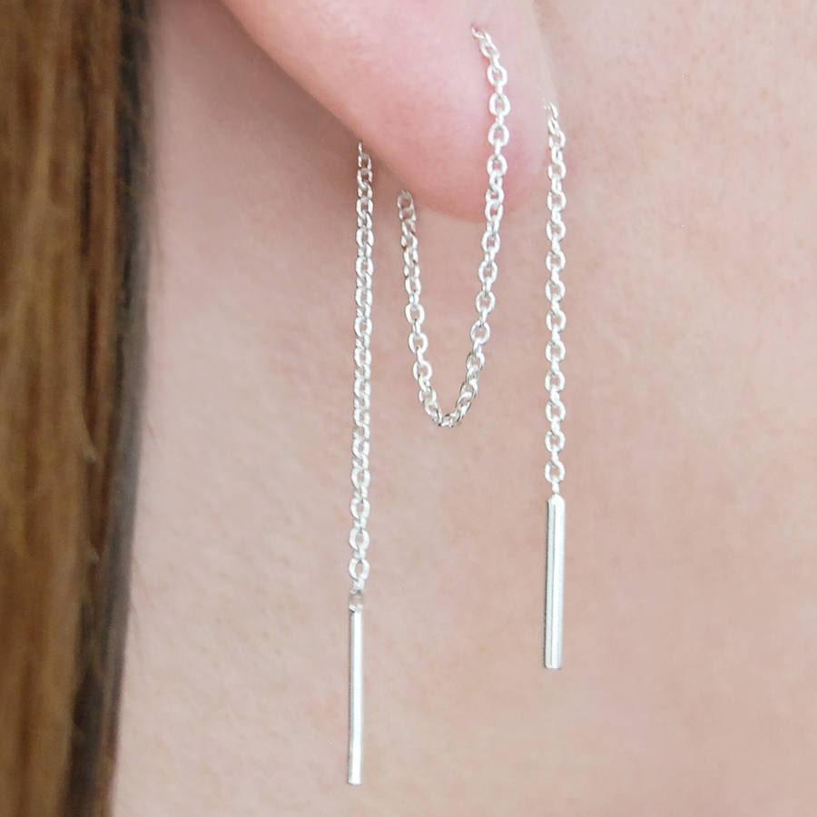 Silver Threader Earrings, Long Drop Chain Earrings, Sterling Silver Earrings,  Chain Threader,