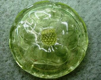 Czech Glass Button 36mm -  blossom, uranium/vaseline clear glass (B36083)
