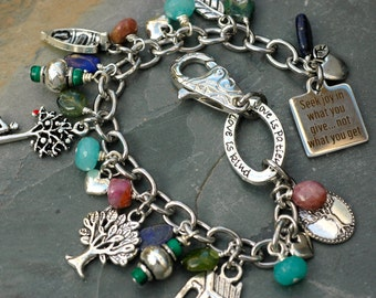Shel Silverstein Themed Jewelry;The Giving Tree Charm Bracelet; Gemstone Charm Bracelet; Giving Tree Gift