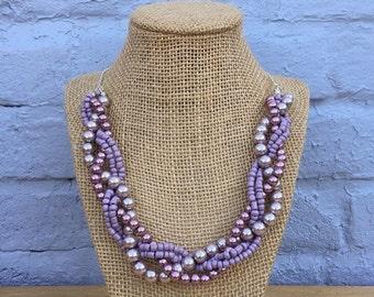 Purple Statement Necklace, Purple Necklace, Pearl Necklace, Lavender Necklace, Light Purple Beaded Statement Necklace, Layered Necklace