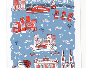 New York Tea Towel-Home Goods-Kitchen-Blue-Red-Grey-17 x 28