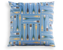 Blue Canoe Paddles Reversible Pillow Cover - Up North, Cabin, Cottage, Lodge, Lake, Coastal or Beach Décor