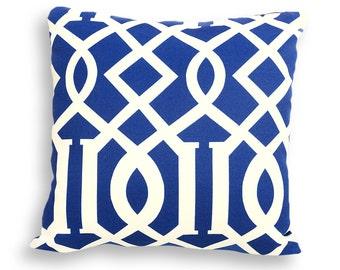 Navy Blue and Ivory Nautical Outdoor Reversible Pillow Cover - Coastal, Beach, Ocean or Patio Décor