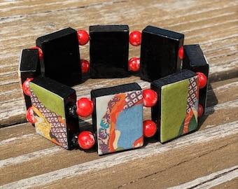 retro art stretch bracelet