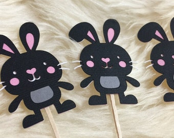 12 Bunny cupcake toppers