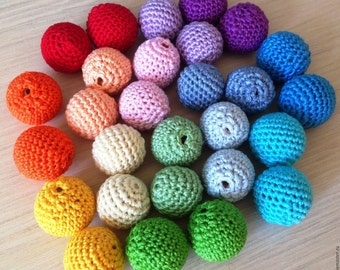 Crochet  beads 10pcs. Coloured beads wooden crochet cotton crocheted bead Round beads Necklaces Choose your size and colour MADE TO ORDER