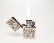 Working Italian Hand Engraved 810 Silver Antique Lighter Case With 1995 Zippo Slim Insert