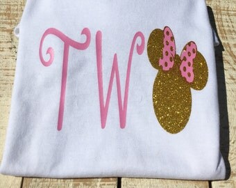 Minnie Mouse inspired Gold and Pink (Birthday) Shirt