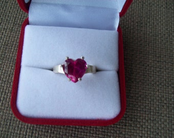 Pink Sapphire Heart Ring Sterling Silver - Size 7