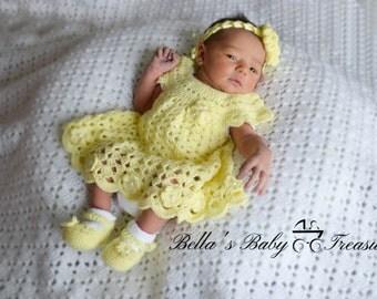 Crochet Dress, headband and booties