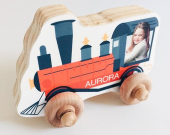 Custom Photo Wood Car, Personalized Birthday Boy Girl Gift, Wooden Push Toy, Kid's Toddler Preschool Vehicle, Christmas, Train