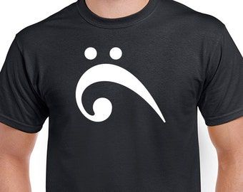 Sideways Bass Clef musician's T-shirt. Bass player tee. Weird surprised bird. Shirt is Black direct screen printed with White ink.