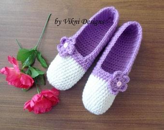 Lavender  Crochet Slippers, Womens Slippers, Indoor Slippers by Vikni Designs