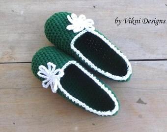 Cotton Slipper, Crochet Slipper, Indoor Women House Shoes, Forest Green Indoor Slipper by Vikni Designs