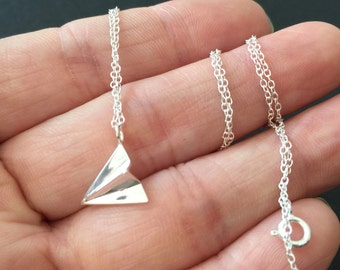 Sterling Silver paper airplane Necklace, Origami Necklace, Aviation charm necklace, silver airplane, simple Minimal Necklace
