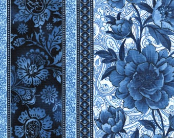 Blue Floral, Paisley, 11 inch Border Stripe, True Blue, Timeless Treasures (By 1/2 yd)