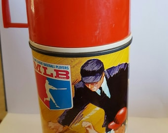 Vintage 1968 King Seeley Thermos, Major League Baseball Players Association, MLB lunchbox thermos, Yankees-Red Sox