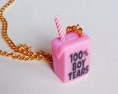 100% Boy Tears Juice Box Necklace, Feminist Necklace, Kawaii Cute Necklace, Feminism Choker, Male Tears Pendant