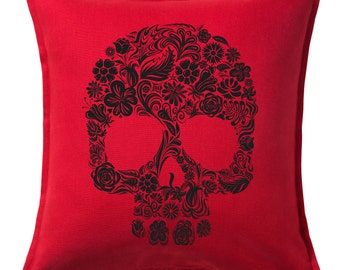 Floral Skull  Feather Throw Pillow