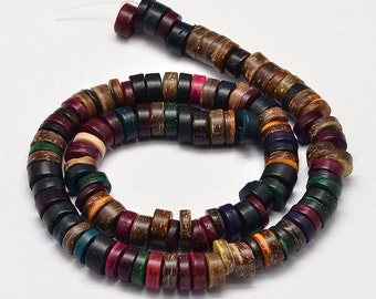 "Dyed Coconut Disc Bead Strand, Mixed Color, Size about 9x3~5mm, Hole: 3mm; about 111pcs/strand, 16""   115"