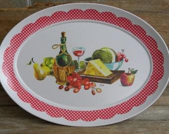 Vintage X Large Brookpark Melmac Wine and Cheese Platter / Melamine Serving Platter #1521 / Vintage Large Melmac Appetizer Platter