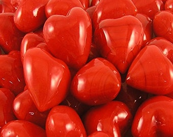 Set of 50 Red Glass Pocket Hearts