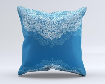 The Intricate Blue & White Snowflake  Pillow  ink-Fuzed Decorative Throw Pillow