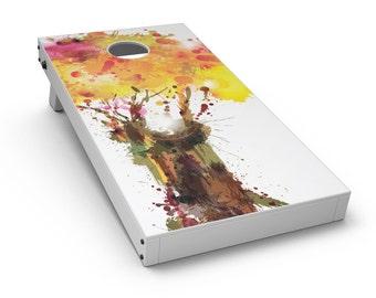 Watercolor Splattered Tree - Cornhole Board Skin Kit