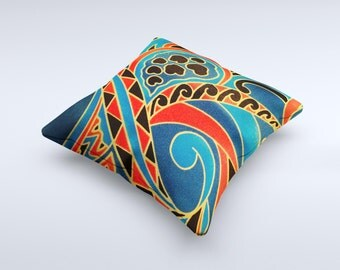 The Orange & Blue Abstract Shapes ink-Fuzed Decorative Throw Pillow