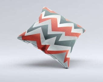 The Abstract Red, Grey and White ZigZag Pattern Pillow ink-Fuzed Decorative Throw Pillow