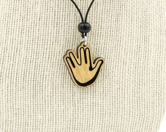 Vulcan Hand Salute Emoji Charm Necklace - Spock Vulcan Sign Wooden Charm Necklace - Star Trek Vulcan Hand Salute Emoji Necklace -