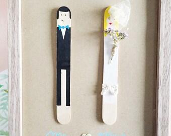 Bride and groom wedding gift box