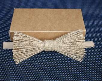 Jute Pre-tied BowTie /Rustic Bow Tie /Jute Accessories / Natural bow tie.