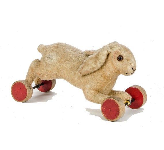 1930s Plush Steiff Running Rabbit On Eccentric Wheels