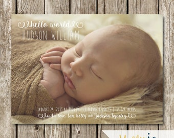 Hello World Birth Announcement - Modern Birth Announcement - Classic Birth Announcement - Photo Birth Announcement Card