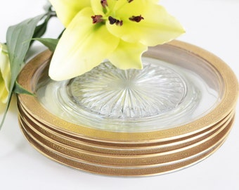 Glass Dinner Plates With Gold Rim Set Of 5. Gold Rimmed Dinnerware. Dinner Table Decor. Gifts For The Hostess. Glass Plates